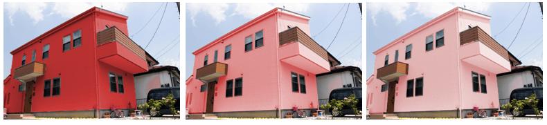 外壁塗装のカラーシミュレーション レッド