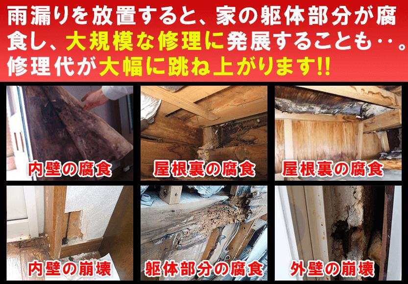 雨漏りを放置すると躯体が腐食し修理代が大幅にアップ